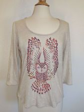 Lucky Brand Owl Top L Large Tribal T Shirt
