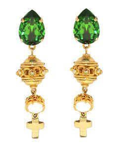 PEZZO UNICO - Goccia in cristallo Swarovski, pendente in argento lavorato a mano, ciondolo con cristallo Swarovski opal e croce in metallo