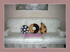 tris di cuscini biscotto: pan di stelle, abbraccio, gocciola
