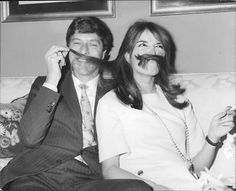 Vintage photo of Paul and Talitha Getty goofing off - from a newspaper image archive.