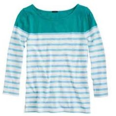BundledJcrew retail colorblock stripe tee Very easy to wear & comfy tee - the colorblocking makes it super cute!  I am selling the one in pic 1 (pic 2 is for reference of fit only).  Gently worn - excellent condition.  Price is firm unless bundled, thanks! J. Crew Tops