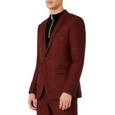Men's Topman Skinny Fit Suit Jacket (301 120 LBP) ❤ liked on Polyvore featuring men's fashion, men's clothing, men's suits, burgundy, topman mens suits, mens suits, mens clothing, mens burgundy suit and men's apparel