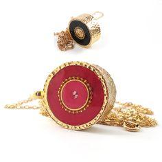 FREE SHIPPING Fuchsia & black pendant Long by SigalitAlcalai, $59.00