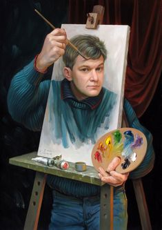 Optical illusions in art, by Oleg Shuplyak, {self portrait} Illusion Kunst, Illusion Art, Illusion Paintings, Art And Illustration, Images D'art, Wow Art, Norman Rockwell, Art Design, Surreal Art