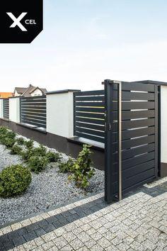 // Nowoczesne ogrodzenie aluminiowe Arete H, ideas decoration patio Arete Horizon modern aluminum fence. // Nowoczesne ogrodzenie aluminiowe Arete H, Front Gates, Front Yard Fence, Diy Fence, Backyard Fences, Fence Landscaping, Fence Gates, Fence Art, Cerca Diy, Aluminum Pool Fence
