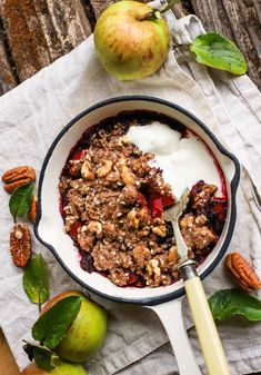 """""""Personal Pan"""" Apple and Berry Crumble (lower carb & gluten-free) - food to glow Rhubarb And Apple Crumble, Fruit Crumble, Crumble Topping, Gluten Free Recipes, Keto Recipes, British Desserts, Organic Yogurt, Apple Recipes, Almond Flour"""