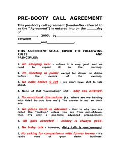 Pre-Booty Call Agreement ...XoXo