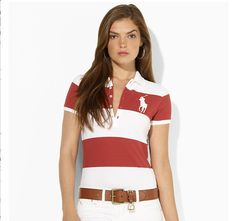 ralph lauren polo outlet online Women\u0026#39;s Big Pony Striped Short Sleeve Polo Shirt Red / White