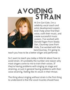 Learn Avoiding Strain by Cari Cole for Voice (Alto) Vocal Lessons, Singing Lessons, Singing Tips, Speech Language Pathology, Speech And Language, Music Sing, Good Music, Musical Theatre Auditions, Song Sung Blue