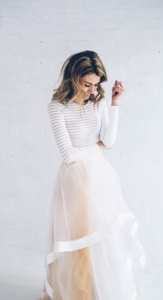Stripe Bodycon Dress And Organza Tulle Skirt by Hello Fashion Style Work, Mode Style, Look Fashion, Fashion Beauty, Womens Fashion, Winter Fashion, High Fashion, Fashion Images, Fashion Ideas