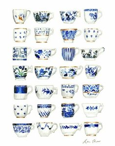 Blue and White Antique Teacups Art Print Watercolor Painting Wall Decor English High Tea Cups Chinoiserie Gift for Her Preppy Mad Tea Party - Print of the original watercolor painting of blue and white teacups, all antique china patterns in - Blue And White China, Blue China, Love Blue, China China, Chinoiserie, Royal Copenhagen, Delft, Dining Room Art, Art Et Illustration