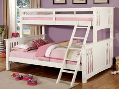 Furniture of America Dara Twin XL over Queen Bunk Bed, White