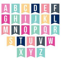 Silhouette Design Store - View Design #142028: banner alphabet Happy Birthday Printable, Happy Birthday Signs, Silhouette Design, Free Printable Alphabet Letters, Bunting Template, Ramadan Crafts, Good Notes, Class Birthdays, Lettering