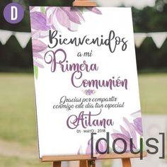 Cartel de Bienvenida de Primera #comunión realizado en cartón o PVC con fondo impreso en calidad HD con elementos florales estilo acuarela. www.doys.es