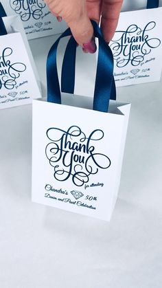 Denim & Diamonds party. Elegant Fifty Birthday celebration gift bags. 50th Anniversary party favors for guests #partyfavors #partyideas #partygifts #favorbags #favorsforwedding #favorideas #favors #anniversaryparty #birthdayparty #giftbags #personalizedgift #birthdaycelebration #fiftyandfabulous #fiftyandfantastic #50thbirthday #blueparty #elegantparty #denimparty