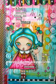 The Kathryn Wheel: Journal play: suzi blu stamps colored in with distress inks and prismas.  background: golden paints + stencils + hand-drawn elements.
