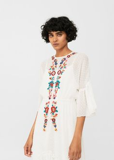 Plumeti floral embroidered dress | MANGO