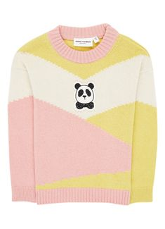 Mini Rodini Pink Cream And Yellow Panda Knitted Wool Jumper Pink Sweater, Jumper, Wool Sweaters, Best Sellers, Panda, Organic Cotton, Pullover, Yellow, Mini