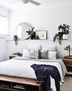 Bohemian bedroom and interior design ideas - Schlafzimmer - Bedroom Decor Bedroom Inspo, Home Bedroom, Room Decor Bedroom, Modern Bedroom, Master Bedroom, White Bedroom Walls, Contemporary Bedroom, Bedroom Plants Decor, Bedroom Inspiration