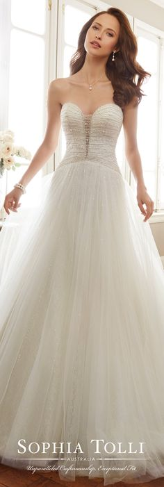 Sophia Tolli Spring 2017 Wedding Gown Collection - Style No. Y11703 Colette - strapless misty tulle A-line wedding dress with hand-beaded bodice