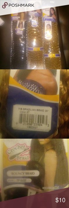 Crochet hair 3 pack ...Crochet hair synthetic 20inch 2 color:27 1 color: 1/b &27 free tress braid Makeup