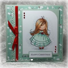 Sugar Nellie Princess digi.  SU Whisper Whtie & Sage Shadow card stock. NitWit Festive Trimmings diital papers. MS Border punch, red dots, ribbon. Copics: Skin - E000, E00, E21, E11, E04, R20 - Hair: E21, E34, E23 - Dress: G000, BG10, BG11, BG72 - Shoes and Rose: R29  Shading N0, N2, N4