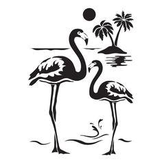 Laser-Kunststoff-Schablone, Din A4, selbstklebend, Flamingos