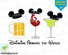 Epcot Drinking Around the World Mickey Ears Printable Iron On Transfer or Use as…