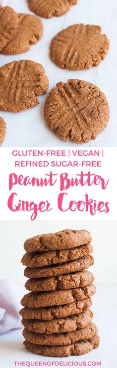 Peanut Butter Ginger Cookies | Vegan | Sugar-free baking | Gluten-free | Healthy recipe