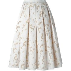 Michael Kors floral lace pleated skirt ($1,665) ❤ liked on Polyvore featuring skirts, bottoms, gonne, saia, michael kors, white, lace skirt, knee length pleated skirt, white lace skirts and pleated lace skirt