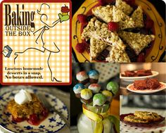 'Baking Outside the Box' cookbook is 'easy bake for grown ups'. Bake cakes, brownies, bars, cookies, snack cakes & more in a snap!