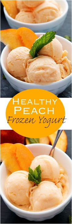 Healthy Snacks I love fruit and this Healthy Peach Frozen Yogurt is sweet, tart, and delicious all spooned into one refreshing bite after the next. - A sweet and healthy way to cool off this Summer. Frozen Desserts, Frozen Treats, Just Desserts, Dessert Recipes, Coctails Recipes, Recipes Dinner, Dishes Recipes, Dinner Dishes, Frozen Yogurt Recipes