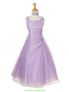 Lilac Floral Embroidered A-Line Organza Flower Girl Dress