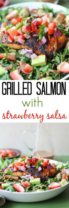 Grilled salmon arugula salad with strawberry salsa, avocado, and strawberry balsamic vinaigrette - a healthful and vibrant meal | TheRoastedRoot.net #dinner #recipe #paleo