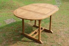 TABLE DE JARDIN 8 PERS 120/180 EN TECK OVALE AFTERNOON