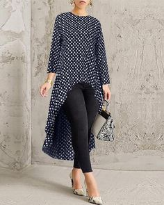 Description: Material:Cotton, Polyester Closure Type:Overhead Pattern:Printed Sleeve Length:Long Sleeve Occasion:Daily Casual, Basic Neckline:O-neck Silhouette Trendy Fashion, Fashion Outfits, New Arrival Dress, Loungewear Set, Linen Blazer, African Fashion Dresses, Blouse Styles, High Low, Blouses For Women