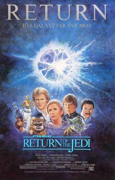 Tom Jung's beautiful poster artwork done for the 1985 re-release of Star Wars: Return of the Jedi. Star Trek, Star Wars Watch, Star Wars Art, Original Movie Posters, Movie Poster Art, Original Star Wars Movie, Original Trilogy, Print Poster, Print Ads