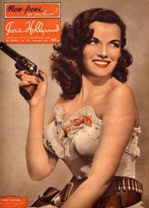 Hollywood pin-up Jane Russell with gun