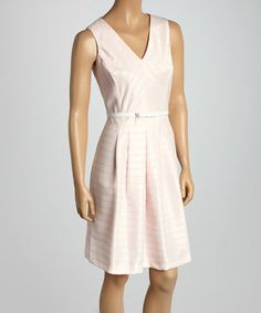 This Pink & White Stripe Belted Sleeveless Dress is perfect! #zulilyfinds