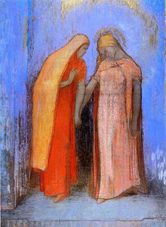 Odilon Redon, Mystiek gesprek, ongedateerd (Vermoedelijk ca. 1902-10), pastel, 53.5 x 39.2 cm, Musée d'Orsay, Parijs
