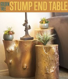 DIY Ready for the Home! Golden Tree Stump End Table | http://diyready.com/golden-tree-stump-end-table-how-to-build-a-table/
