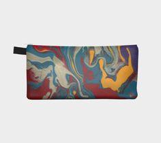 zippered pouch, makeup case, pencil case, change purse, flow painting…