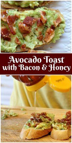 Easy Avocado Toast recipe with Bacon and Honey from via recipegirl Avocado Dessert, Avocado Smoothie, Bacon Recipes, Avocado Recipes, Cooking Recipes, Bacon Food, Bacon Bacon, Avocado Brownies, Avocado