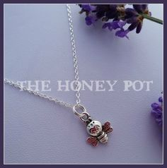 Silver Honeybee Charm on Silver Chain. Please choose your Chain Length 30 cm (child) 45 cm (short) 50 cm (medium) 60 cm (long) Assembled, Sol and Sent by Raspberry Jelly