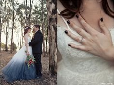 Red, Navy, White Wedding. Red Colour palette, Modern Wedding, Ombre Wedding Dress, Lace Wedding Dress, Heart Shaped Wedding Ring www.lunafay.co.za