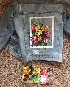 923308db09309 Denim Jacket Flower Frame  diypantsdenim  denimshoesdiy Painted Jeans