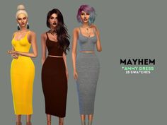 """mayhem-sims: """"  Tammy Dress • hq texture • standalone • 28 swatches • mesh by @simpliciaty (included) thank you for allowed me re-edit mesh"""