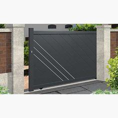 portail coulissant aluminium emalu orleans disponible en gris ou blanc de 3m 5m motorisation. Black Bedroom Furniture Sets. Home Design Ideas