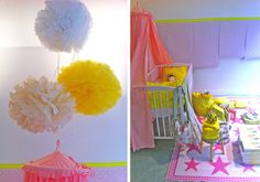Pink with yellow. Via Famille Summerbelle. Bonton (french shop) window display