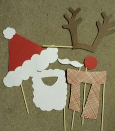 DIY picture props for a holiday party. I also made a candy cane and another Santa hat.